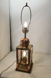 Vintage Rustic Cabin Arts Crafts Style Copper Glass Table Electric Lantern Lamp