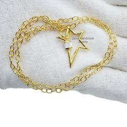 Star Carabiner Lock Cable Chain Necklace 9k Gold White Topaz Baguettes Jewelry