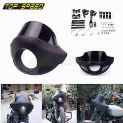 Black Motorcycle 5.75 In Headlight Fairing Head Lamp Front Mask Cowl For Harley