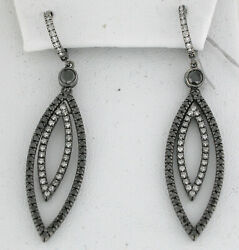 14k White Gold Double Marquise Shaped White And Black Diamond Earrings 2.33 Ctw