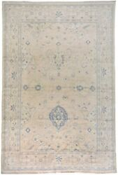 9x13 Geometric Hand-knotted Muted Oushak Turkish Area Rug Vegetable Dye Carpet