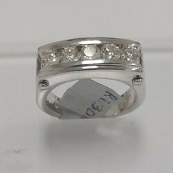 14k White Gold Manand039s Channel Diamond Ring Size 10 1.30 Ctw 11.30 Grams Of Gold