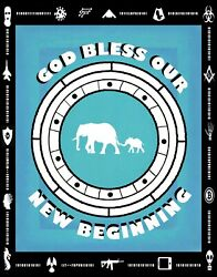 God Bless Our New Beginning Cipher Encoded Message Contemporary Art