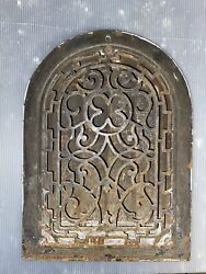 """Antique 8"""" X 12"""" Rough Opening Tombstone Style Cast Iron Heating Register Grate"""