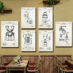 Coffee Patent Vintage Posters and Prints Kitchen Wall Art Decor Canvas Painting