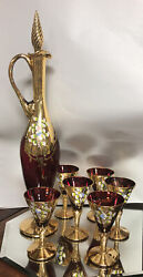 Vintage Bohemian Moser Ruby Red/gold Decanter +6 Liqueurs Cordials