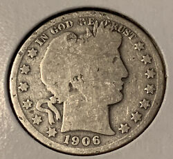 1906 O Barber Half Dollar Very Collectible Vg Full Date And Rims Nice Coin