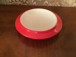 Hall China Butter Bowl/dish 1950's Retro Red And White