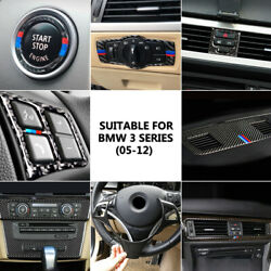Carbon Fiber Steering Wheel/cd Air Outlet/water Cup Panel Cover For Bmw E90 E92