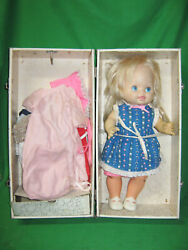 1978 Baby Grows Up Mattel Doll 16 1/2-18 W/ Trunk And Clothes Needs Repair