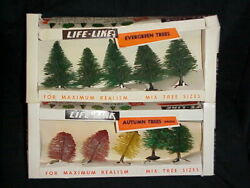 Life-like Small Trees Scenery Autumn And Evergreen Vintage - New Old Stock