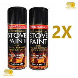 2x 400ml High Temp Black Stove Spray Paint Wooden Burners Bbqand039s And Stoves 600c