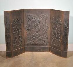 Large French Antique Cast Iron 5 Piece Fireback Panel Highly Detailed