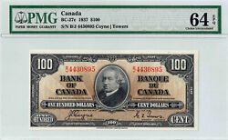 ✪ 1937 100 Bank Of Canada Note Bc-27c - Pmg - 64ppq