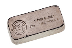 Vintage Great American Silver Co. 1970s 5 Oz Silver Poured Loaf Bar