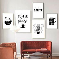 Kitchen Wall Art Decor Coffee Typography Quotes Poster Canvas Painting Prints