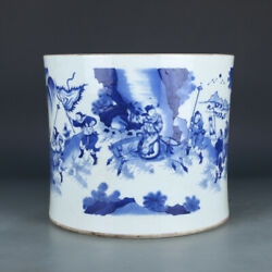 10.8 Antique Old Chinese Porcelain Dynasty Blue White General Brush Pots