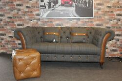 Harris Tweed And Aniline Leather Bretby Chesterfield Style 2 Seater Sofa