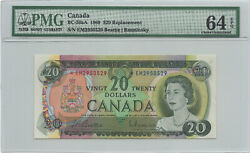 ✪ 1969 20 Bank Of Canada Em Replacement Bc-50aa - Pmg Ch Unc 64 Epq