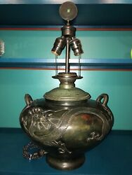 Large Chinese Archaic Bronze Wine Vessel Lamp With Dragons Converted Oil Lamp