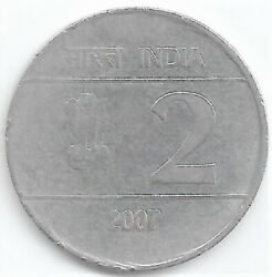 India Rupee 2 Error Cross Coin 2007 With Mule Issue From Calcutta Mint S61