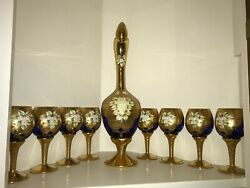 Italian Murano 24kt Gold Leaf Relief Decanter Wine Glasses New Never Used