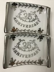 Lefton China 25th Anniversary Set Of 2 Plates Fancy Dish Silver Hand Painted4653