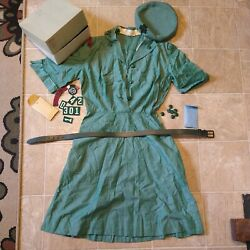 Vintage 1950's Girl Scout Uniform Dress Belt And Beret W/ Extra Buttons And Patches
