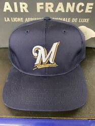 Vintage 1990's Mlb Milwaukee Brewers Snapback Hat Nwt Outdoor Cap Co Men's