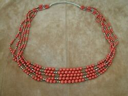 Vintage 5 Strand Ox Blood Coral Necklace -- Graduated Coral Beads