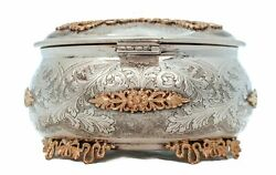Italian 925 Sterling Silver And Gold Plated Hand Chased Ornate Esrog Jewelry Box