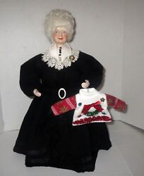 Victorian Christmas Santa Tree Topper Display Ugly Sweater Doll Katherine Haney