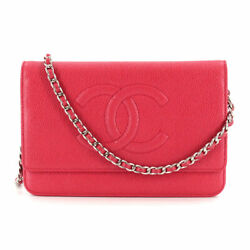 Chain Long Wallet Caviar Skin Leather Red A48654 90111938