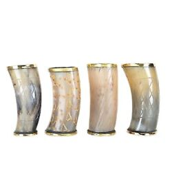 Drinking Cup Chalice Stein For Beer Wine Set Of 4 Natural Ox Horn Tankard Viking