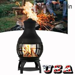 Chiminea Outdoor Fire Pit Fireplace Patio Firepit Wood Burning Heater Iron Black