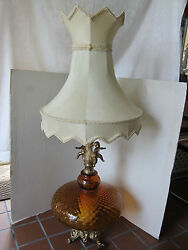 Table Lamp Optic Amber Glass Cherubs Diffuser Ef And Ef Industries Mid Century Vtg