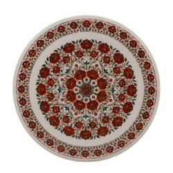 Dining Table Top With Stand White Marble Handmade Pietra Dura Mosaic Furniture