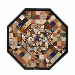 Dining Table Top With Stand Black Marble Handmade Pietra Dura Mosaic Furniture
