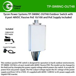 Tycon Power Tp-sw8nc-out48 Outdoor Switch With 8 Port 48vdc Passive Poe 10/100