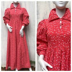 Dress Prairie Vintage Laura Ashley Wales 70s Calico Red Floral Maxi Smock House