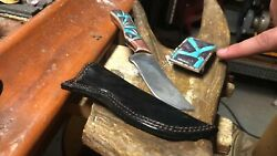 Handmade Raindrop Damascus Silver And Steel Knife And Buckle Set W/leather Holster
