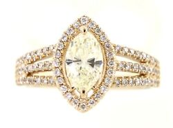 Solid Real Marquise Halo Diamond 14k Yellow Gold 1.22ct Fine Ring Christmas Gift