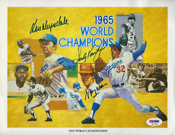 Sandy Koufax Don Drysdale Signed Dodgers 1965 Ws Champs Wills Psa Authentic