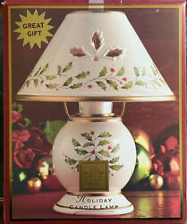 Lenox Christmas Holiday Candle Lamp 10 Tall W/ Holly And Berries W/ Box