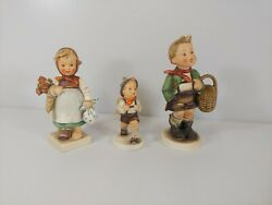 Lot Of 3x Vintage Goebels Hummels W. Germany Mother Father Son Picnic / School