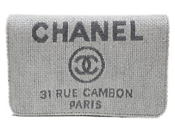 Chain Wallet A80795 Deauville Line Canvas Leather Light Gray Casual Used