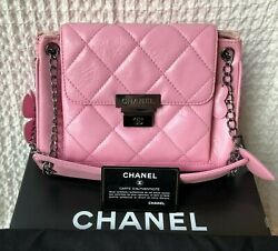 Shoulder Bag Pink Leather Flowers Chain Strap Triangular Quilted