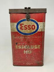 Vintage Old Iron Hand Forged Collectible Esso Essolube Hd Enamel Tin Cane Box