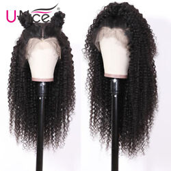 Mongolian Jerry Curl Human Hair Lace Front Wigs 150 Density Pre Plucked Full Us