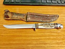 Western Usa Knife Boulder Co. Bird And Trout Genuine Stag 1950and039s Hunting Vintage